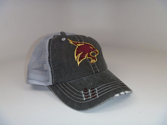 We Have Added A Little Edge To The Traditional Baseball Cap This Cap Is A Low Profile Distressed Adjust Texas State University Texas Hat Texas State Bobcats