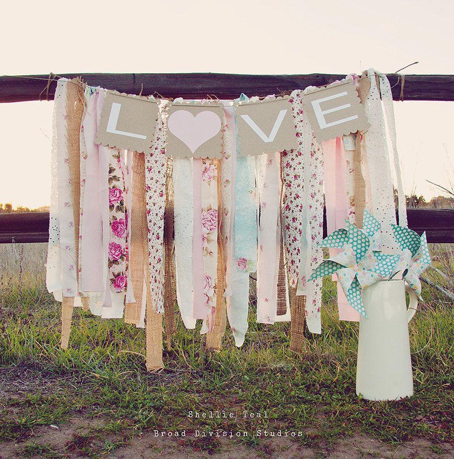 girl baby shower vintage rustic table decor ideas | ... Chic Wedding Decor - Shabby Chic Nursery Decor - Baby Shower Banner