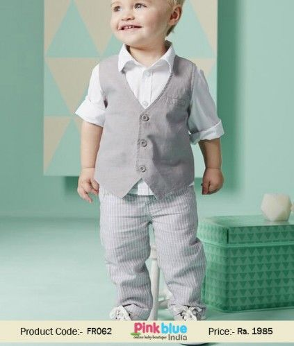 436baa26a Baby Boy Grey Waistcoat Outfit Set with White Shirt and Pinstripe ...