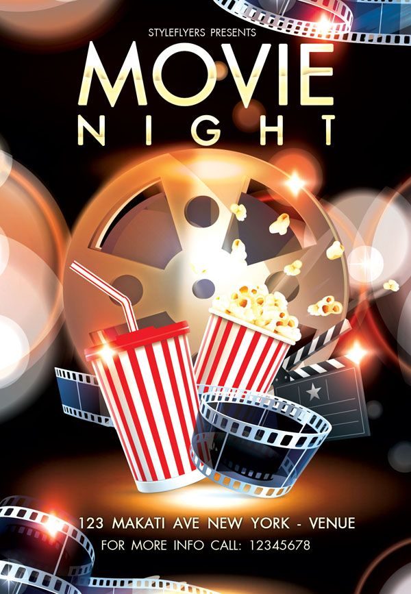 Free and Premium Flyers with Style Resources Graphic Design - movie night flyer template