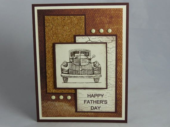 Included is one handmade Happy Fathers Day greeting card. This layered card features a brown base that was layered with white cardstock, cork paper, designer print paper, and stamped paper. The image was hand stamped, inked around the edges, and popped away from the card with dimensionals. Six candy dots embellish the card. Stampin Up and other companies products were used to create this card.  Size: Approx. 4.25 x 5.5  Back: Contains Stampin' Up logo on back of card per their Angel Policy…