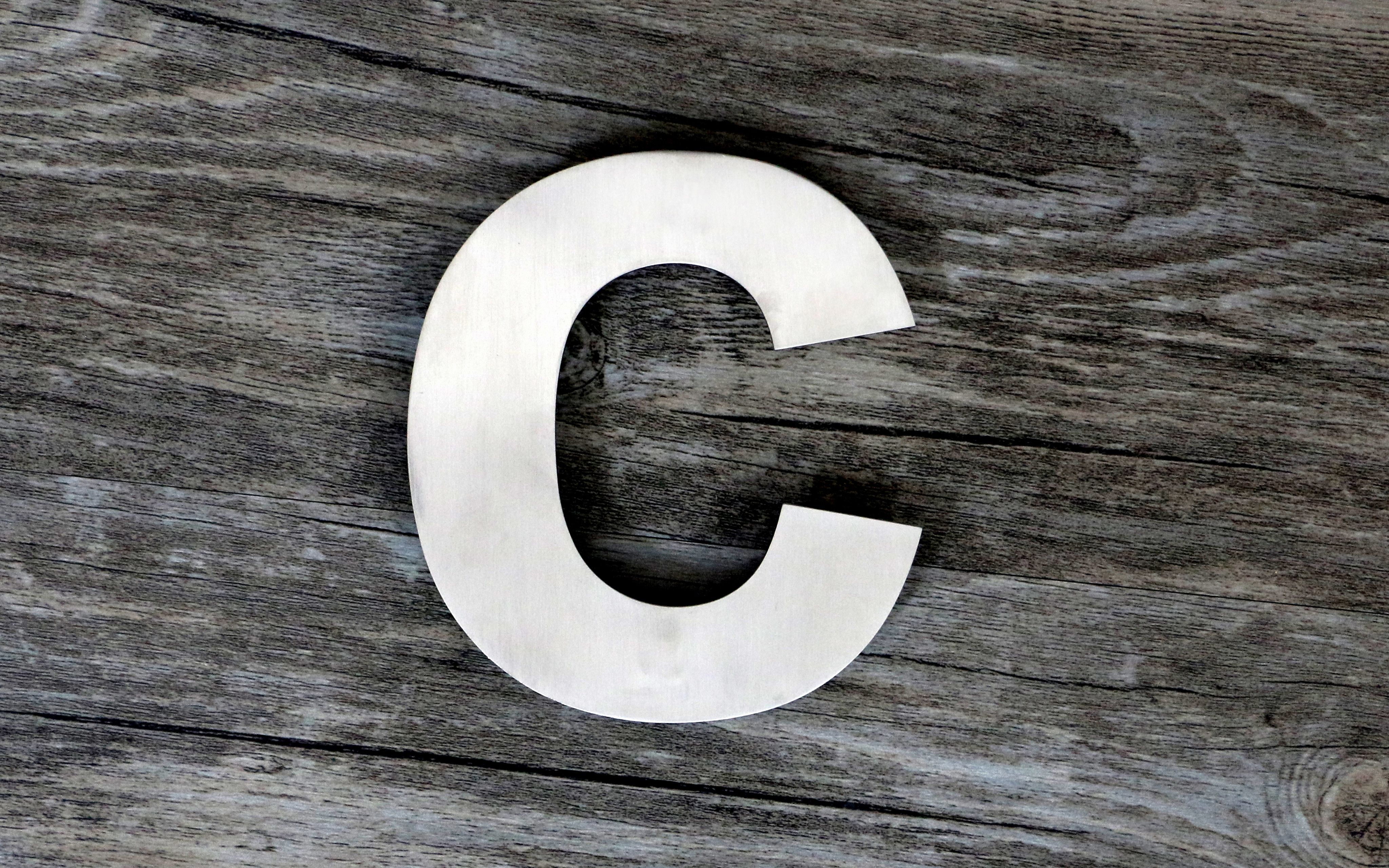 Modern floating steel house letter super large 9 inch letter c brushed solid 304 stainless steel floating appearance easy to install