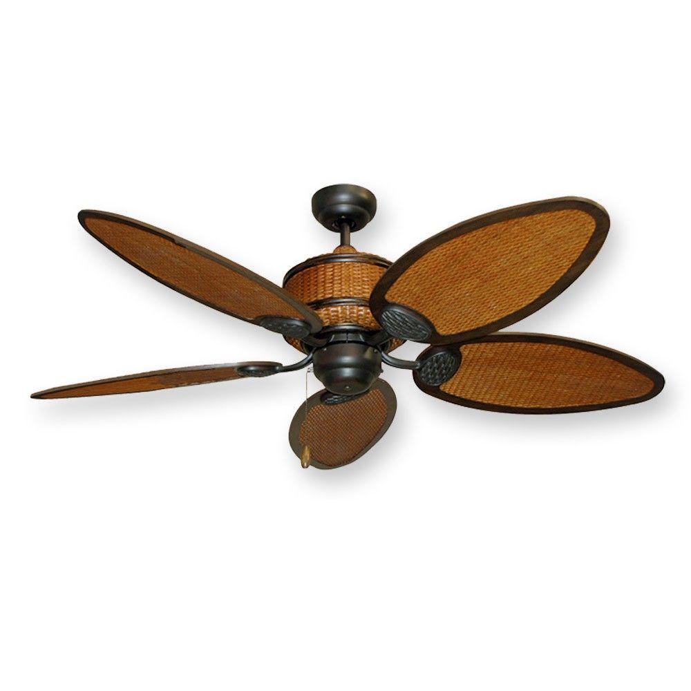 Cane Isle Tropical Ceiling Fan 52 Real Rattan Blades And Motor Housing Tropical Ceiling Fans Ceiling Fan Ceiling Fans For Sale