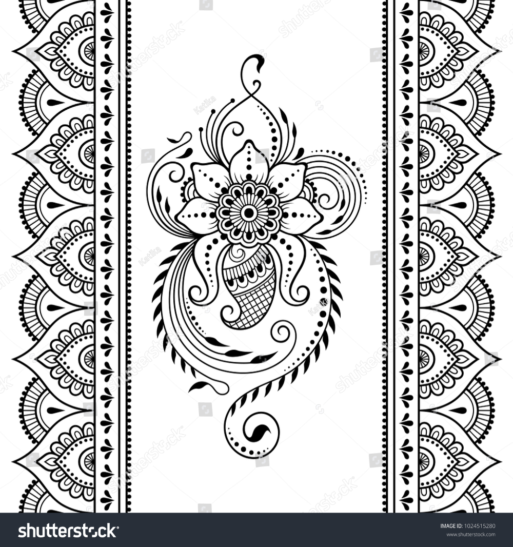 Set Mehndi Flower Pattern Seamless Border Stock Vector