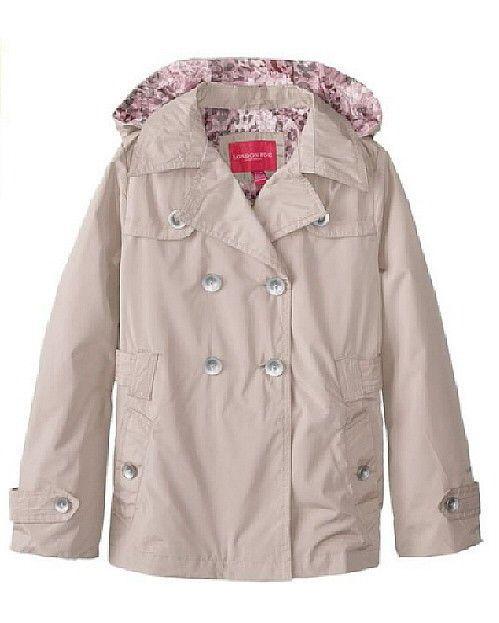 558b70b35eff NWT Girls London Fog Trench Raincoat with Printed Liner in Khaki ...