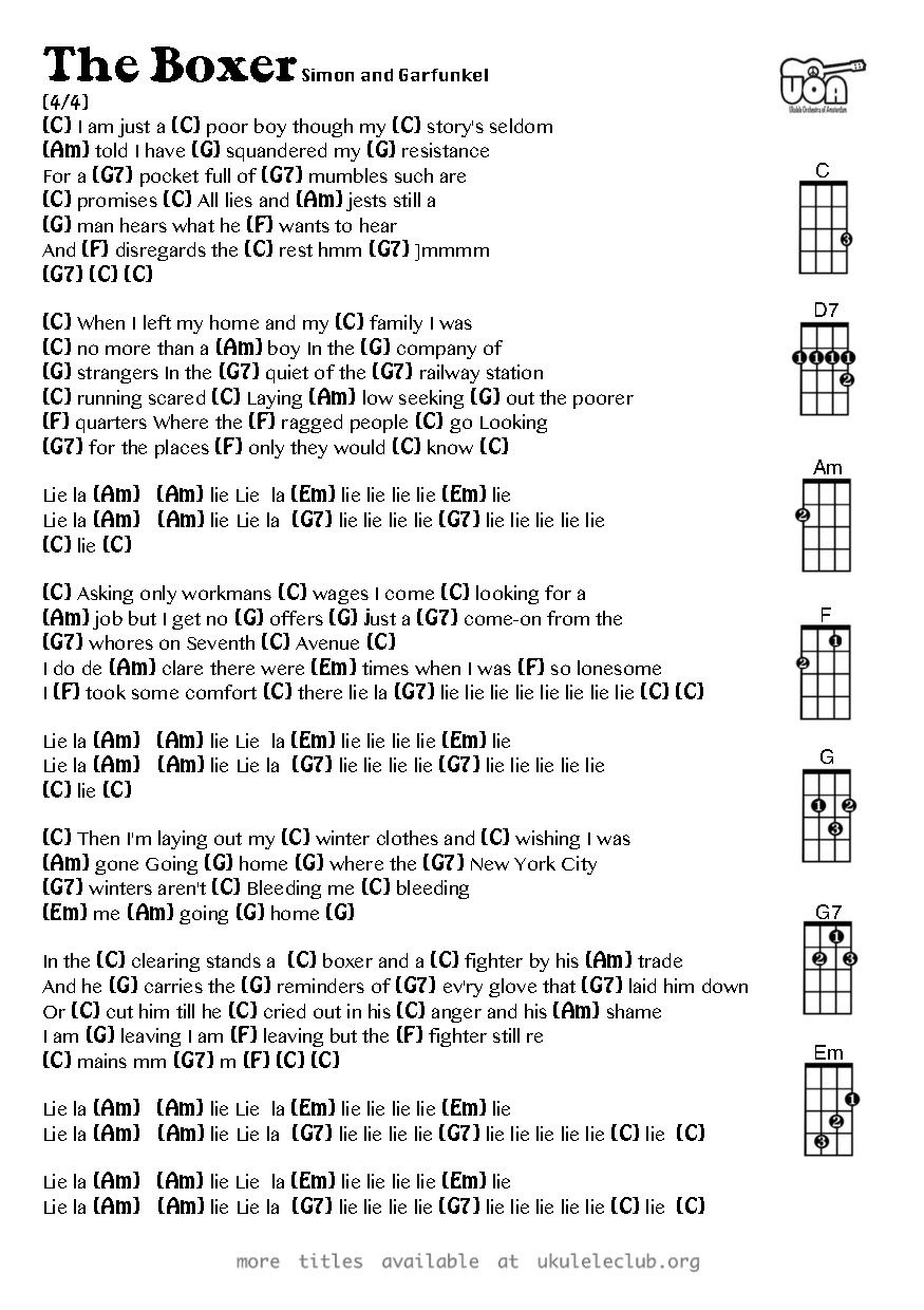The Boxer Simon And Garfunkel Ukulele Chords Ukulele Chords In