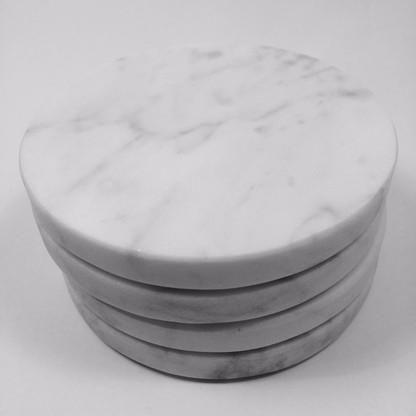The Little Moon Carrara Marble Round Coasters   Set Of Four   Norsu  Interiors   1 Good Ideas