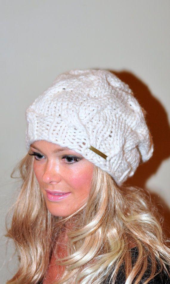 Sombrero slouchy Slouchy Beanie Cable sombrero mano punto | Tejido ...