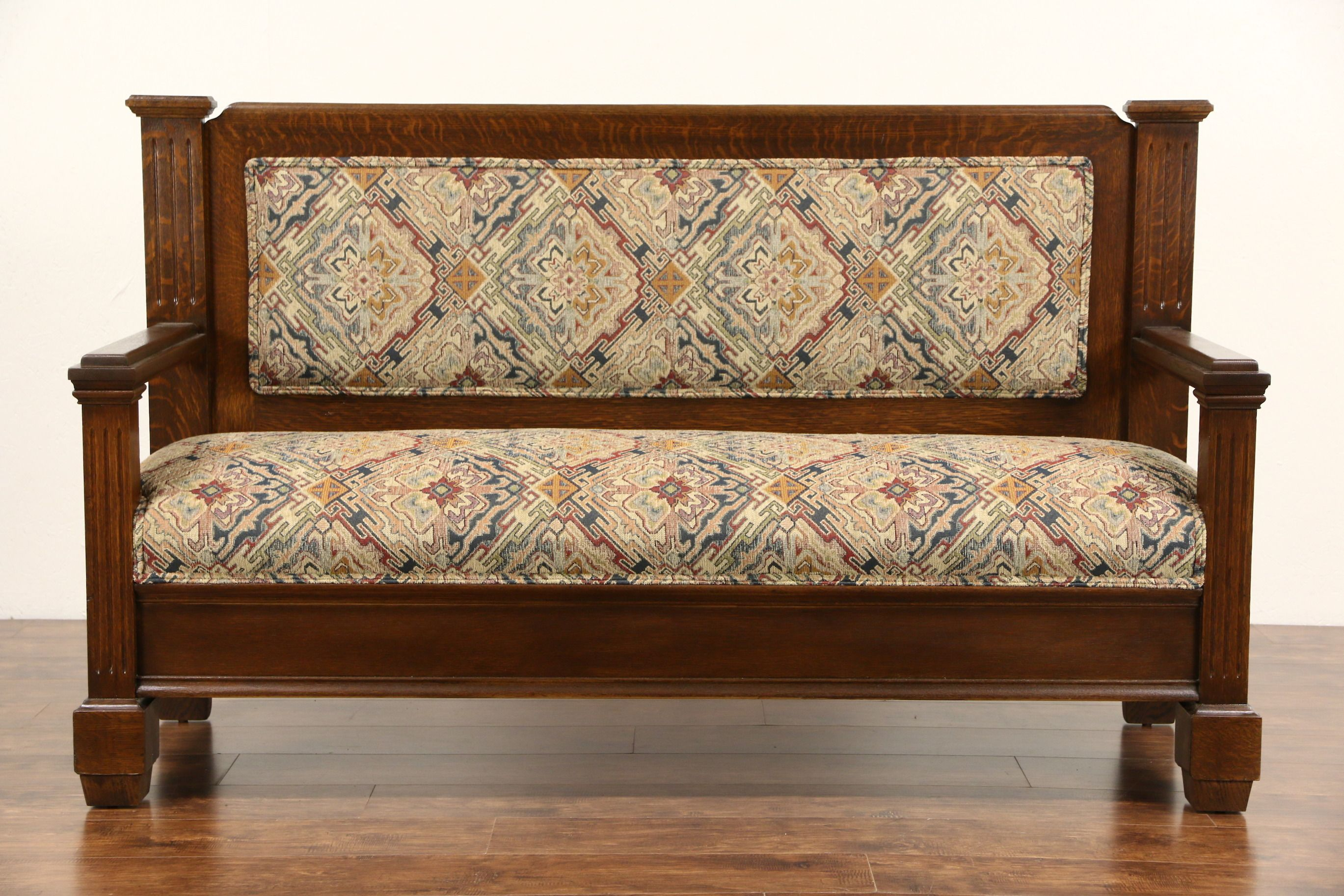 Magnificent Oak 1900 Antique Hall Bench Or Settee New Upholstery In Andrewgaddart Wooden Chair Designs For Living Room Andrewgaddartcom