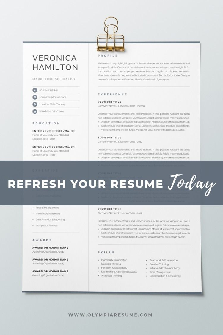 Professional Resume Template Compact 1 Page Resume Template