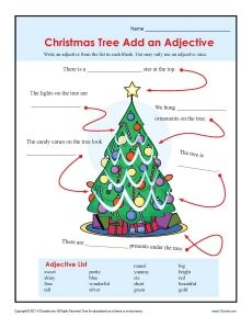 Christmas Add An Adjective Worksheet For 2nd And 3rd Grade Grammar