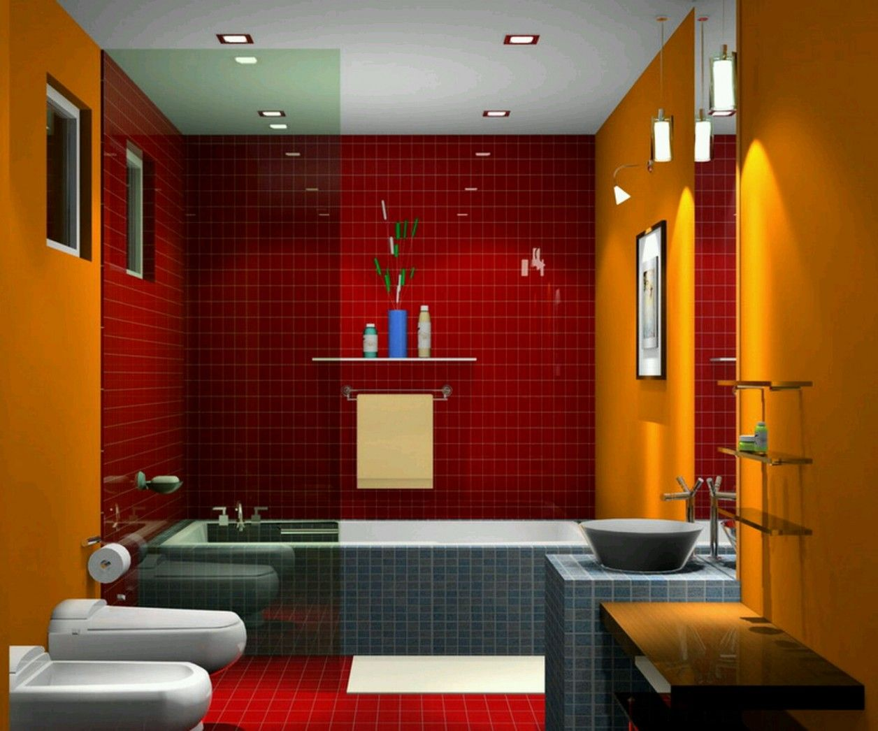 Red And Yellow Colors Bathroom Tile
