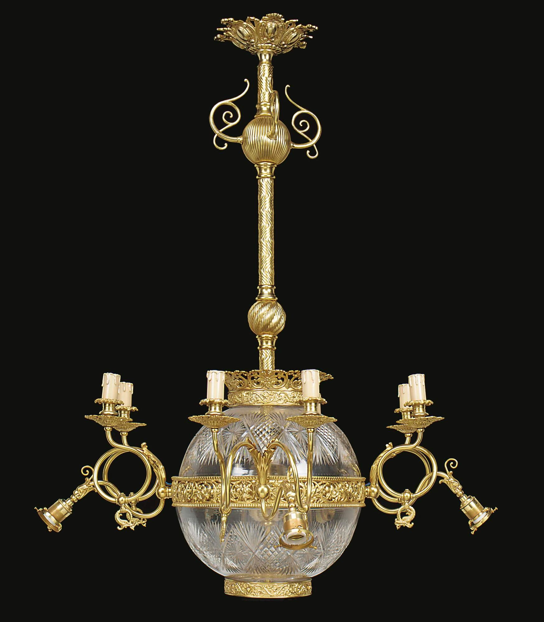 A Fine Gilt Bronze and Cut Glass Twelve Light Rococo Style