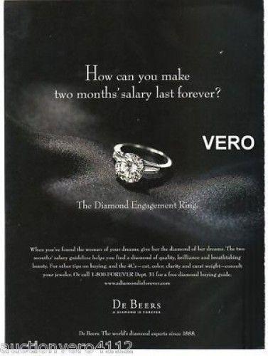 1998 Magazine AD DE Beers Diamond Engagement Ring Advertisement