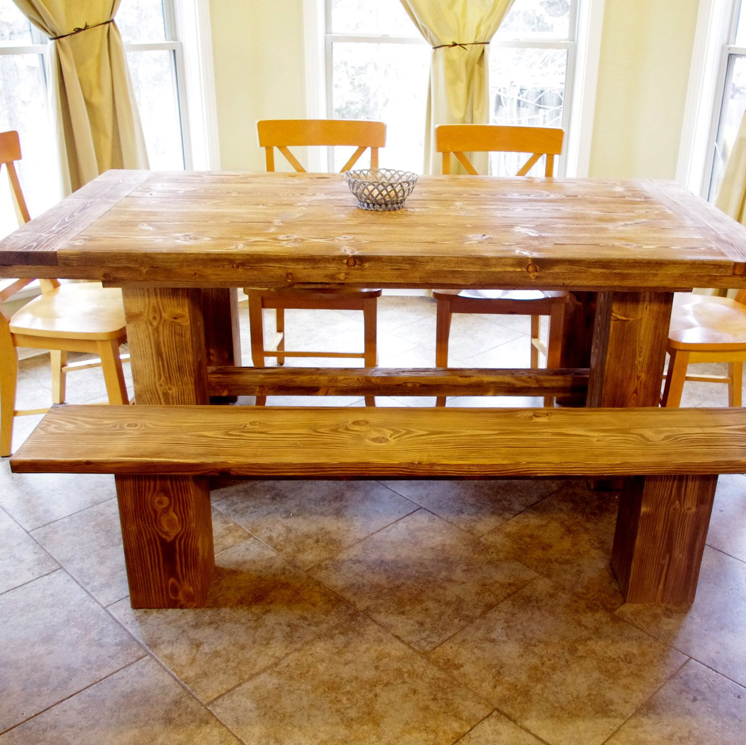 Rustic Pine Farmhouse Table And Benches
