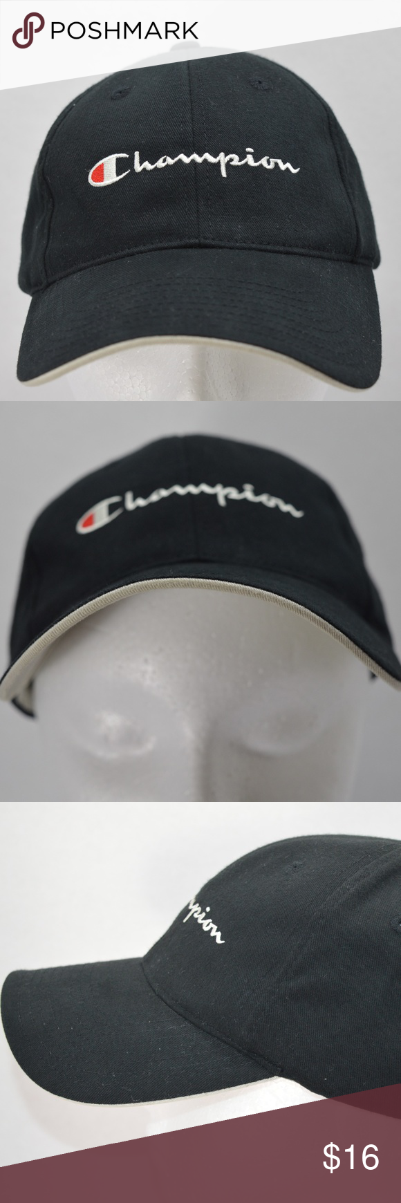 Champion Black Golf Baseball Running Tennis Hat Embroidery on front and  back 0e1ce9b3102