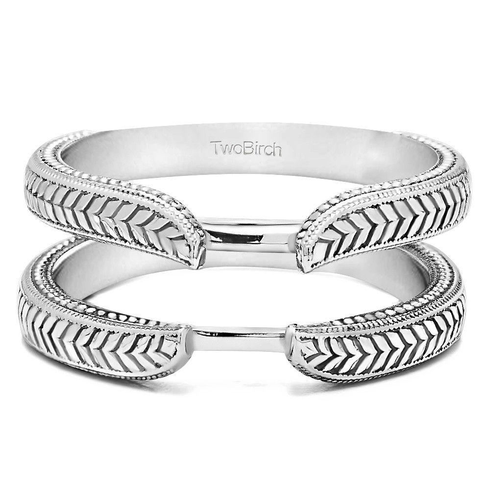 Plain Metal Solid Wedding Ring Guard in 14 Karat White or