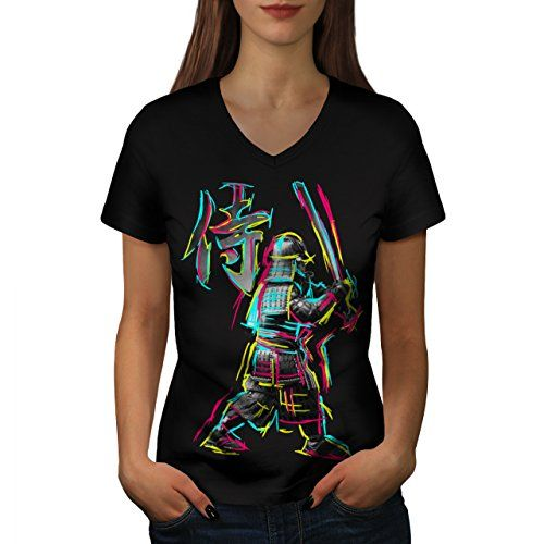 Colourful Samurai Fight March Women NEW Black L VNeck Tshirt  Wellcoda * You can get additional details at the image link.