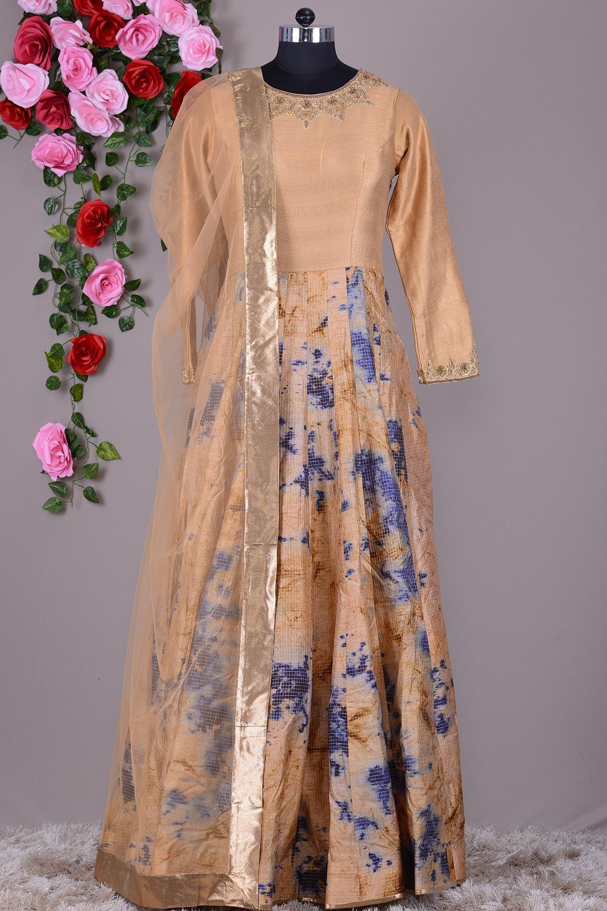 Beige raw silk printed indowestern gownvh indo western gown