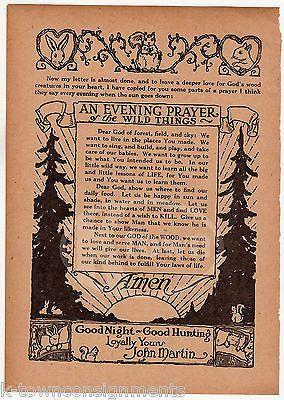 HUNTERS EVENING PRAYER POEM ANTIQUE NURSERY RHYME GRAPHIC ILLUSTRATION PRINT