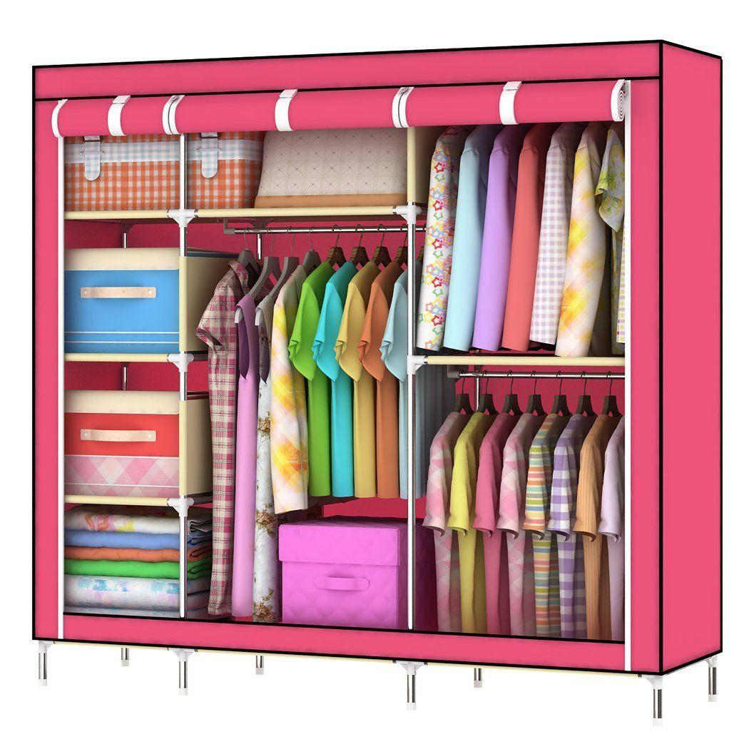 Asunflower New 55 Portable Closet Storage Organizer Clothes Wardrobe Rack Shelf With 5 Shelves For Uni Pink Home Kitchen