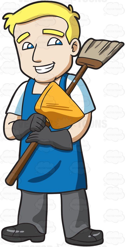 A Janitor Holding A Broom And Dustpan Broom And Dustpan Janitor Broom