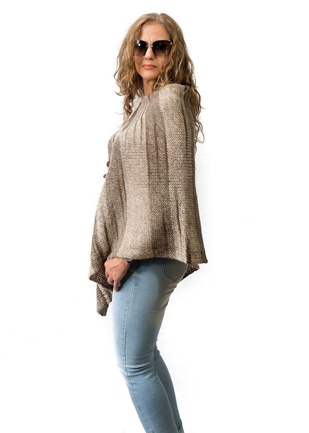 8f36979ea30 Beige wool womens poncho hand knitted