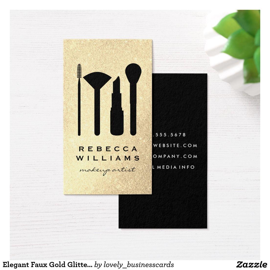 Elegant Faux Gold Glitter Makeup Set Business Card #makeupartist ...