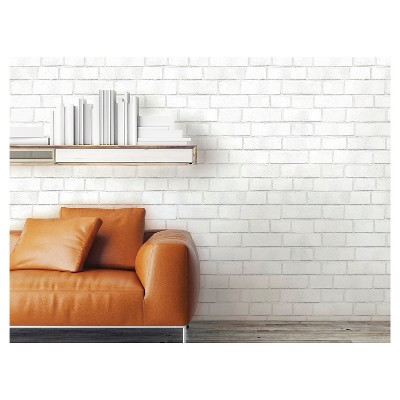Textured Brick Peel & Stick Wallpaper White Threshold