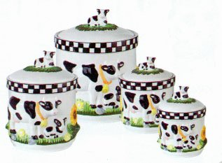 Amazon Com Kitchen Canisters 4pc Canisters Set Cow Decor