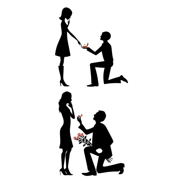 Proposal Couple Cuttable Design Cut File. Vector, Clipart, Digital Scrapbooking Download, Available in JPEG, PDF, EPS, DXF and SVG. Works with Cricut, Design Space, Cuts A Lot, Make the Cut!, Inkscape, CorelDraw, Adobe Illustrator, Silhouette Cameo, Brother ScanNCut and other software.
