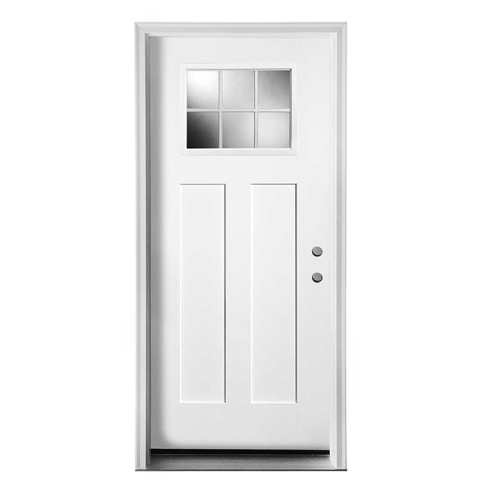 Exterior Doors Pre Hung Steel Craftsman Collection White Pre