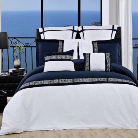 Amazon Com 7pc Hotel Style Greek Key Navy Blue White Bedding Duvet Cover Set Full Queen Home Kitchen Duvet Cover Sets Comforter Sets Navy Comforter Sets