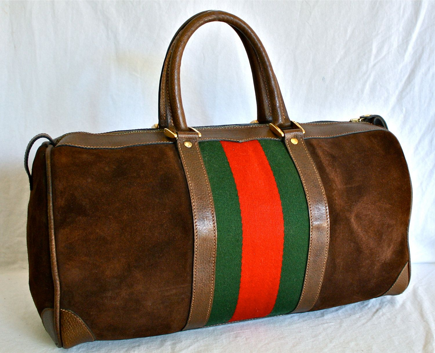 VINTAGE GUCCI Duffel Web Suede Leather Extra Large Doctors Bag ...