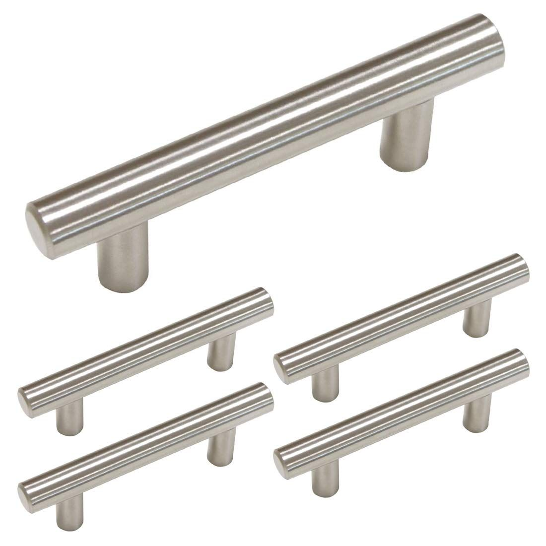 Brushed Nickel Cabinet Handles Drawer Pulls 3 In Hole Centers Cabinet Hardwa Cabinet Hardware Brushed Nickel Brushed Nickel Drawer Pulls Kitchen Drawer Handles