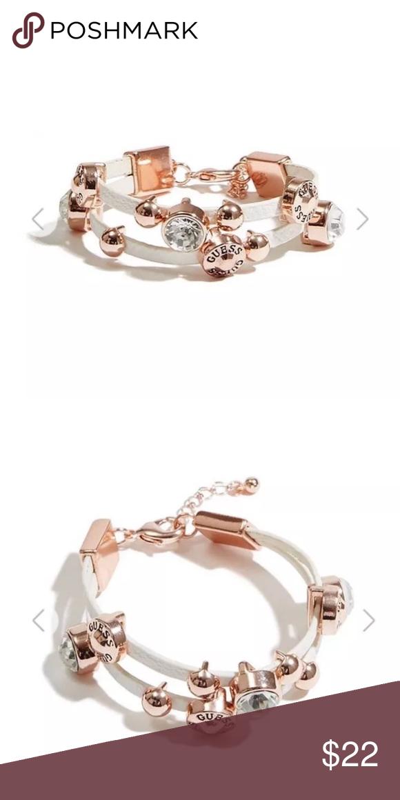 Jeans Rhinestones Logo Bangle Bracelet Gold Tone Charms Nwt Fashion Jewellery Jewellery & Watches Guess ??