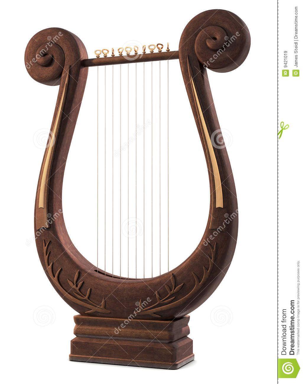 Uno strumento musicale del Lyre su bianco.