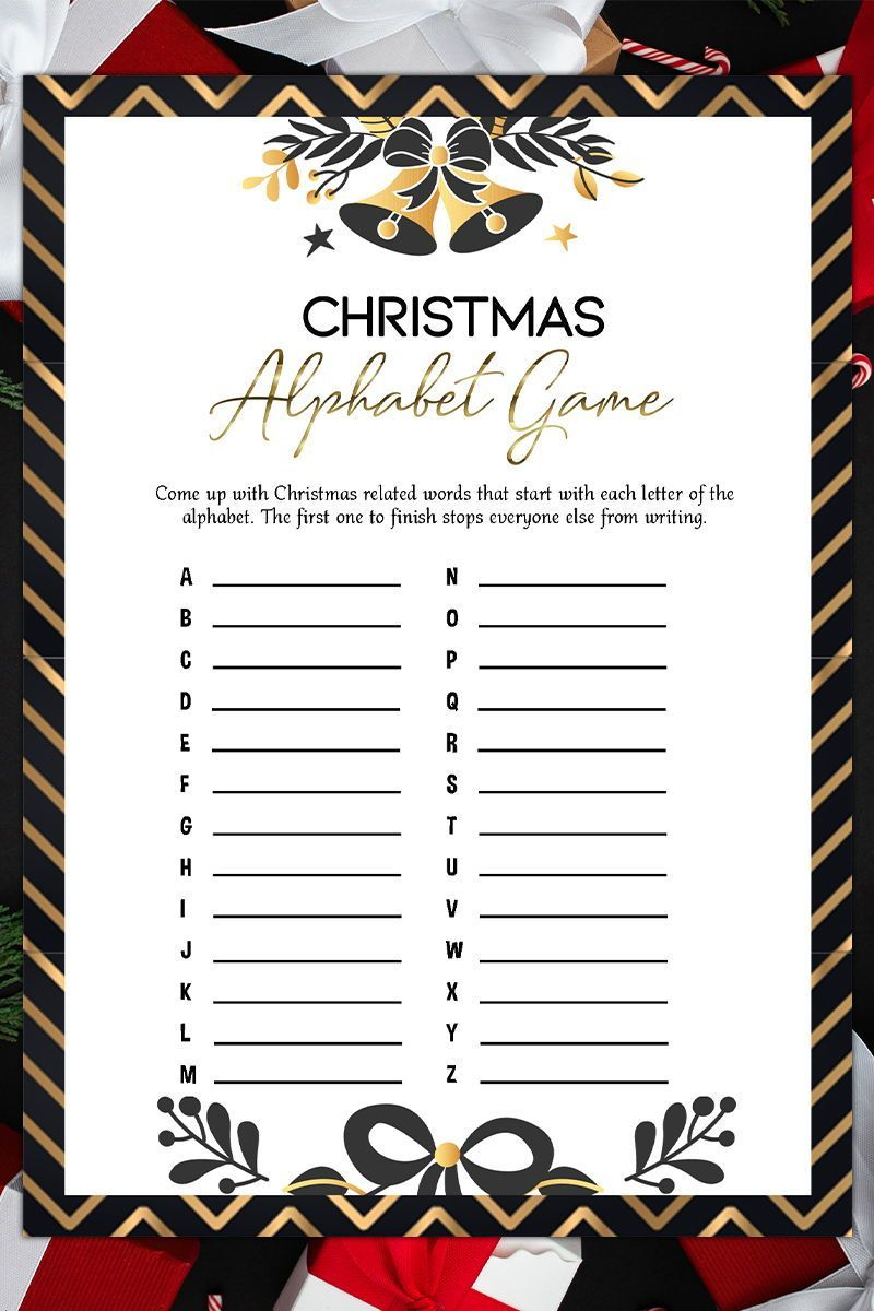 Christmas Alphabet Game,Holiday Party Game,Printable Christmas
