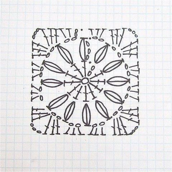 Простой квадратный мотив крючком схема   узоры крючком   Pinterest ...