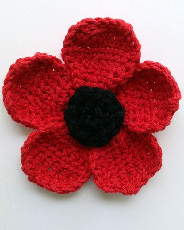 Poppy Flower Free Crochet Pattern from Maggie\'s Crochet. | Flower ...