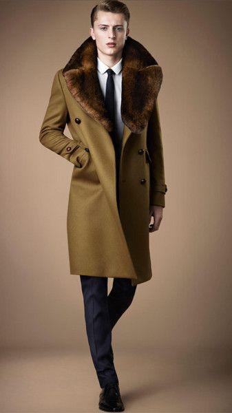 Mens fur collar overcoat