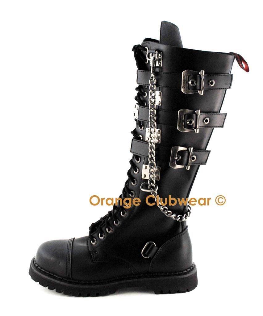 f3e7080058d Details about *** Demonia Gravel-20 goth gothic punk biker leather ...
