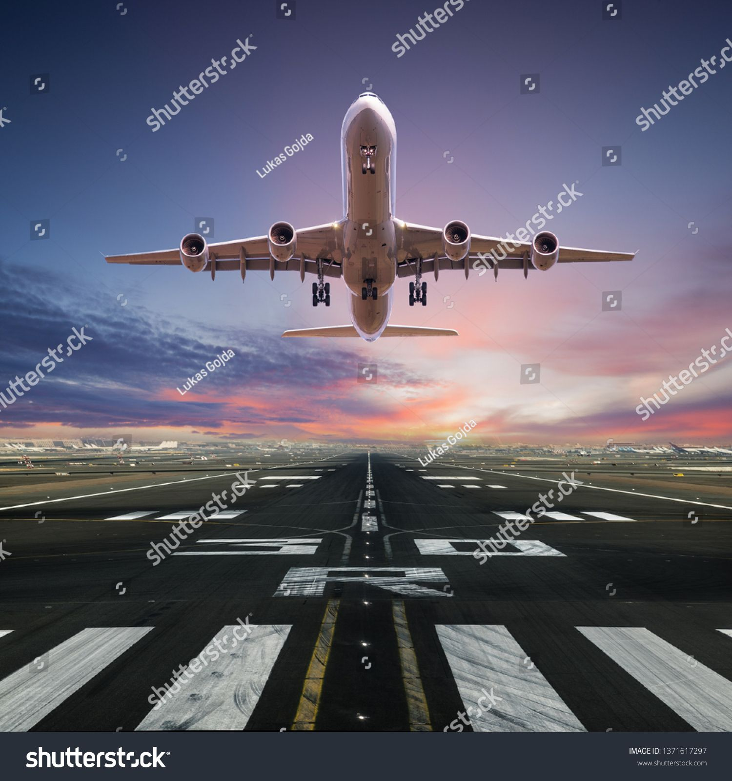 Airplane Taking Off From The Airport Front View Royalty Free