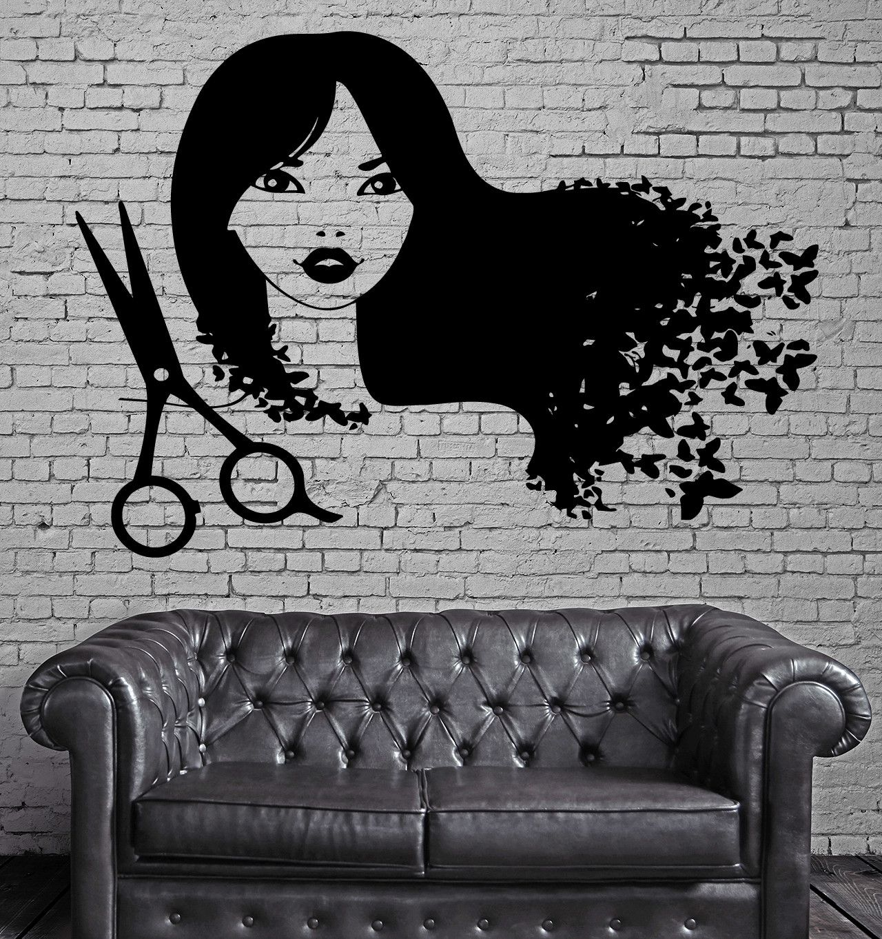 Barber shop pole distressed wall decal vintage style wall decor ebay - Hair Beauty Salon Barbershop Decor Wall Stickers Vinyl Decal Z2266
