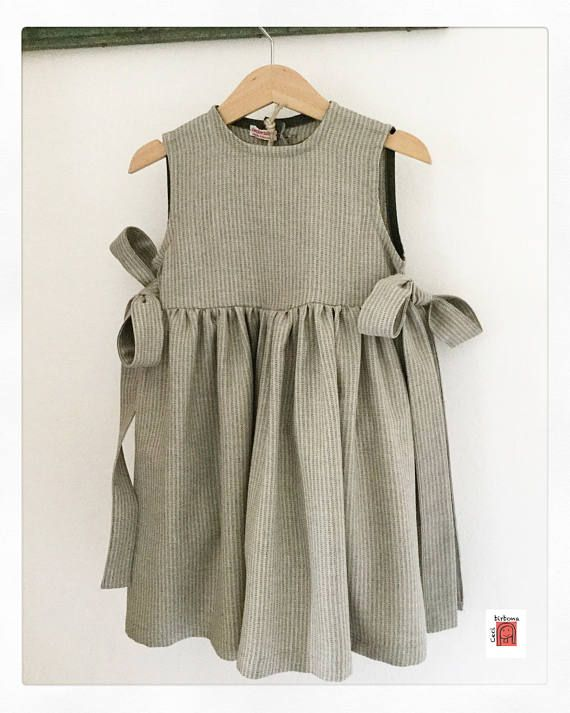 Smock for girl – green smock for school – dress for girl – green child apron – green smock dress