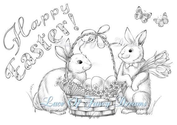 Happy Easter Coloring Page Pdf Cute Easter Bunny Coloring Etsy Easter Coloring Pages Cute Easter Bunny Easter Bunny Colouring