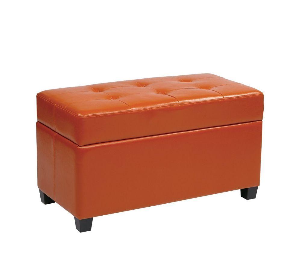 Osp Designs Vinyl Storage Ottoman Orange Espresso Finish Legs Vinyl Storage Storage Ottoman Osp Home Furnishings