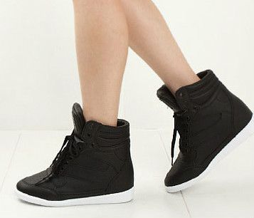 Black · Womens Girls Faux Leather BLACK Hi-Top Wedge Sneakers Shoes .
