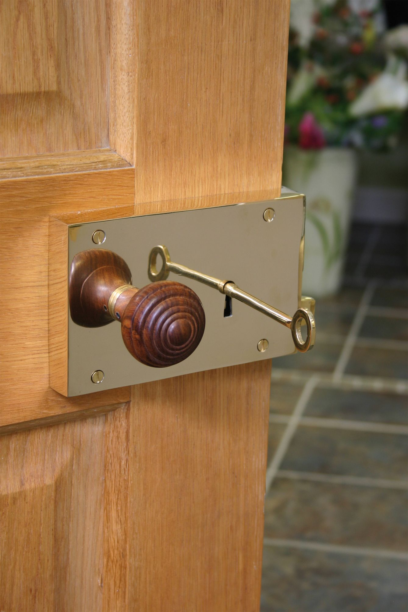 A stunning Polished Brass Rim Lock fitted with our Rosewood Ringed ...
