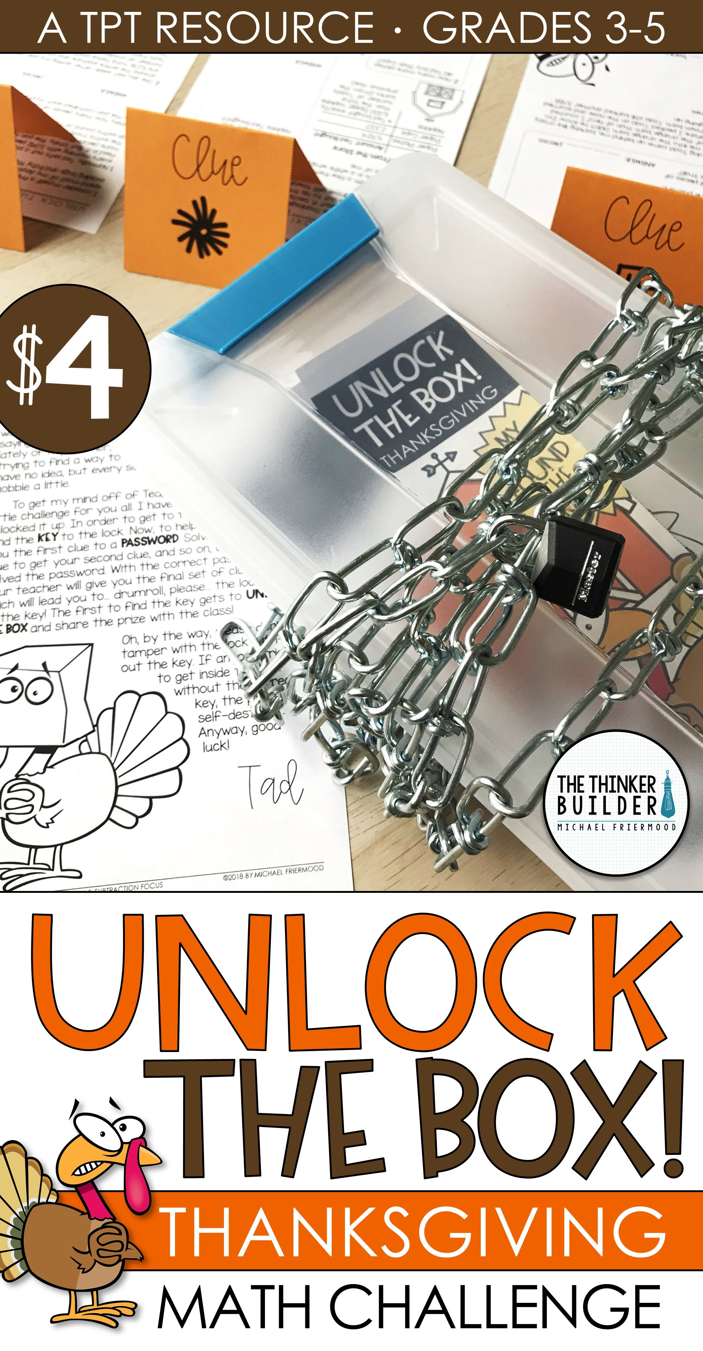 Unlock The Box Thanksgiving Math Activity Addition Subtraction W Regrouping